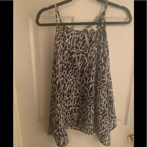 Black and White Leopard Flowy Tank